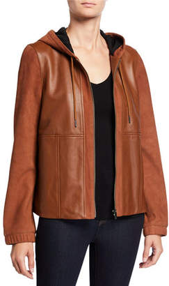 Neiman Marcus Leather Collection Mixed-Media Zip-Front Leather Hoodie Jacket