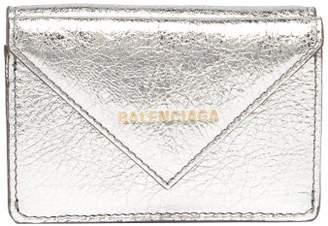 Balenciaga Papier Metallic Leather Purse - Womens - Silver