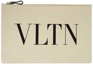 Valentino Off-White Garavani Large VLTN Zip Pouch