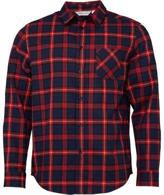 Kangaroo Poo Mens Checked Long Sleeve Flannel Shirt Navy/Red