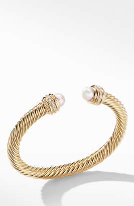 David Yurman Cable Bracelet in 18K Gold with Diamonds