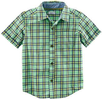 Carter's Plaid Short Sleeve Button-Front Woven Shirt - Preschool Boys