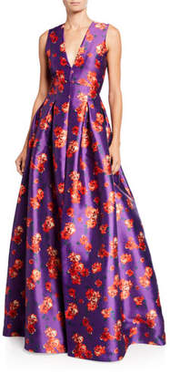 Sachin + Babi Brook Floral V-Neck Sleeveless Twill Ball Gown