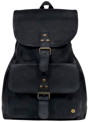 Mahi Leather Leather Explorer Backpack Rucksack In Ebony Black