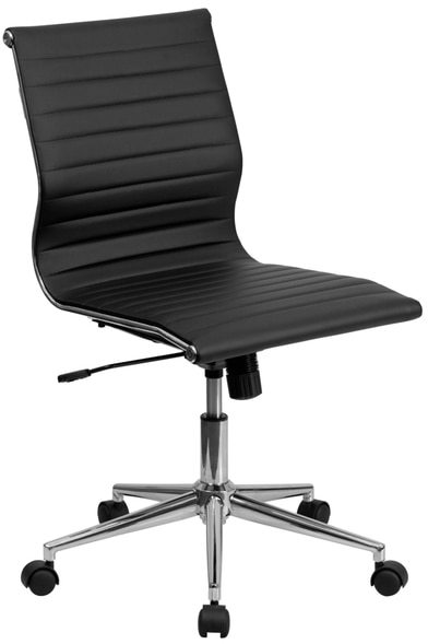 Flash Furniture Mid-Back Armless Ribbed Upholsteleather Conference Chair