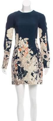 Cacharel Silk-Wool Floral Print Dress