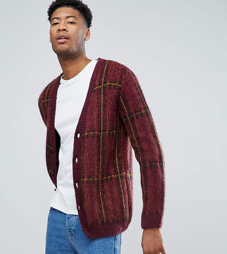 Asos DESIGN TALL Fluffy Oversized Cardigan In Burgundy Check