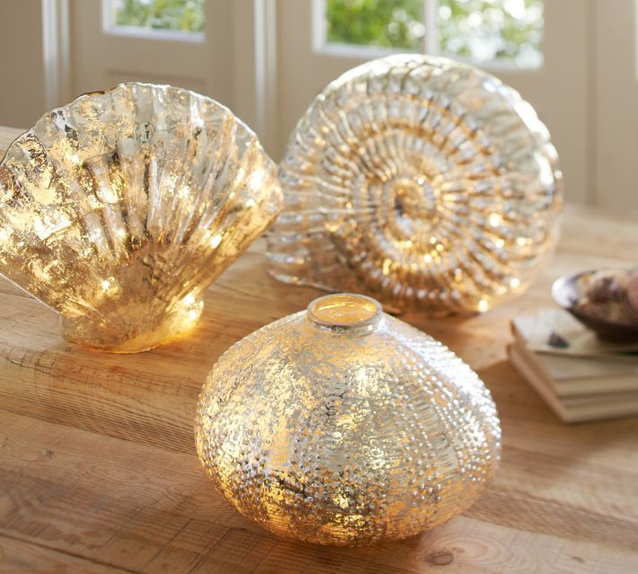 Pottery Barn Lit Mercury Glass Shells
