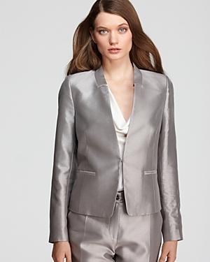 Metallic Stand Collar Blazer