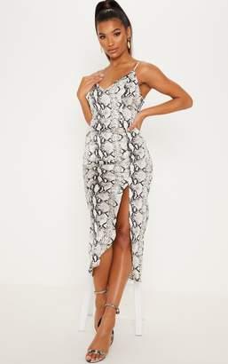 PrettyLittleThing Tan Leopard Print Satin Midi Slip Dress