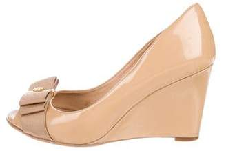 Tory Burch Patent Leather Peep-Toe Wedges