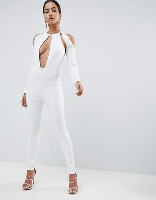 In The Style Sarah Ashcroft cut out plunge jumpsuit