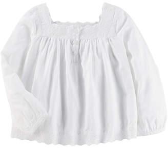 Osh Kosh Oshkosh Long Sleeve Eyelet Top- Toddler Girls