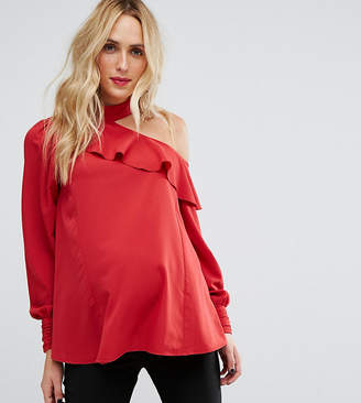 Asos Tie Neck And Cold Shoulder Blouse