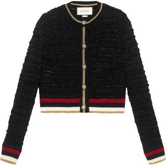 Gucci Knitted cardigan with Web