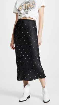 Anine Bing Bar Silk Polka Dot Skirt