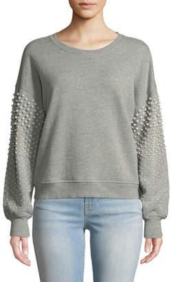 Joie Sanceska Pearly-Stud Cotton Sweatshirt