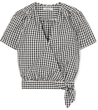 Madewell Gingham Cotton-poplin Wrap Top - Black