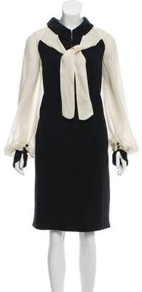 Chanel Metallic Silk-Paneled Dress