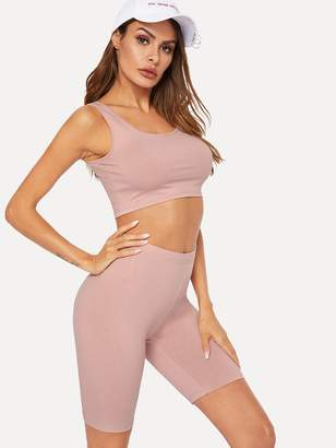 Shein Crop Fitted Tank Top & Short Leggings Set