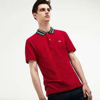 Lacoste Men's Slim Fit Striped Contrast Collar Petit Pique Polo