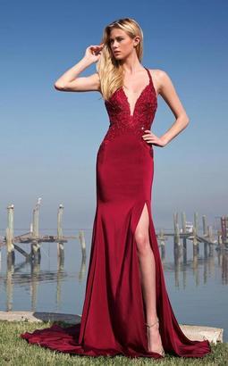 Colors Dress - 1755 Bedazzled Halter Neck Trumpet Dress $330 thestylecure.com