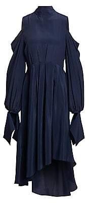 Rokh Women's Split Back High-Neck Cold-Shoulder Dress