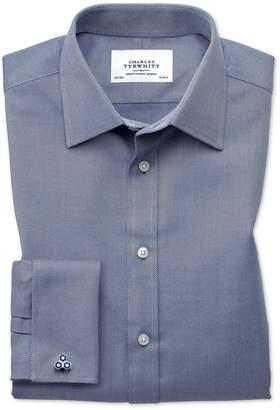 Charles Tyrwhitt Slim Fit Egyptian Cotton Cavalry Twill Navy Blue Dress Shirt French Cuff Size 15/34