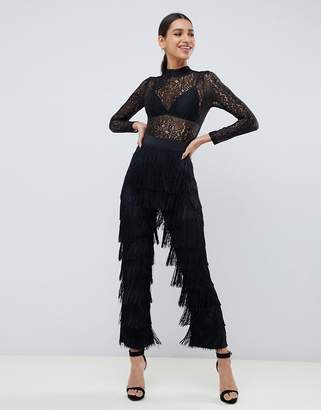 Rare London fringe jumpsuit with lace top in black
