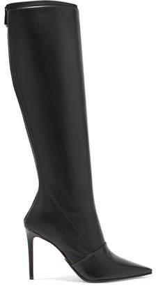 Balmain Leather Knee Boots - Black
