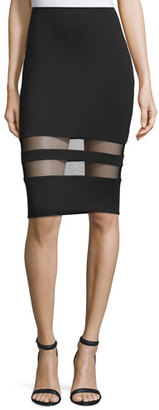 T by Alexander Wang Mesh-Stripe Lux Ponte Skirt, Black $240 thestylecure.com