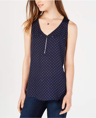 BCX Juniors' Dot-Print Zippered Top