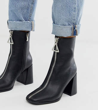 Z Code Z Z_Code_Z Exclusive Aylen black zip front heeled ankle boots with square toe