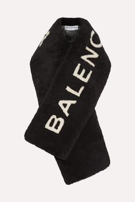 Balenciaga Shearling Scarf - Black