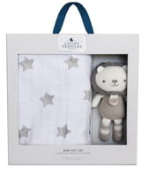 Living Textiles Baby Bento Swaddle Blanket & Austin Stuffed Animal Gift Set