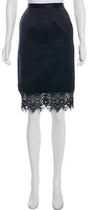 Giorgio Armani Macramé-Trimmed Silk Skirt