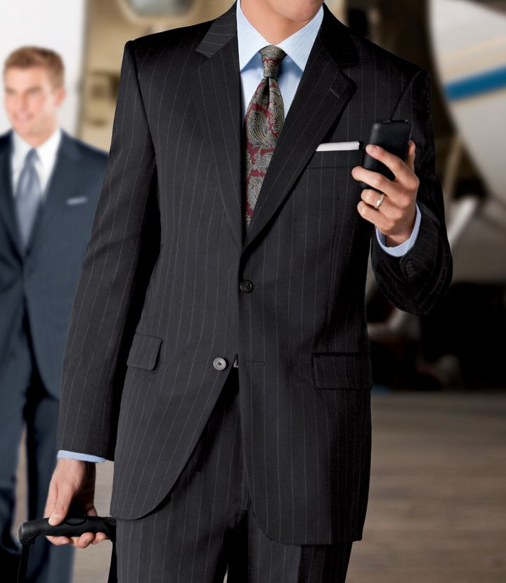 Jos. A. Bank Executive 2-Button Wool Suit with Side Vent Jacket and Pleated Front Trousers- Sizes 44 X-Long-52