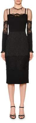 Dolce & Gabbana Long-Sleeve Sheer-Yoke Lace-Trim Midi Dress