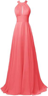 Dresstory Long Halter Chiffon Bridesmaid Dress Sexy Backless Prom Dress us