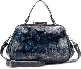 Patricia Nash Gracchi Metallic Embossed Leather Satchel