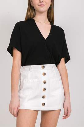 Very J White Button-Up Skort