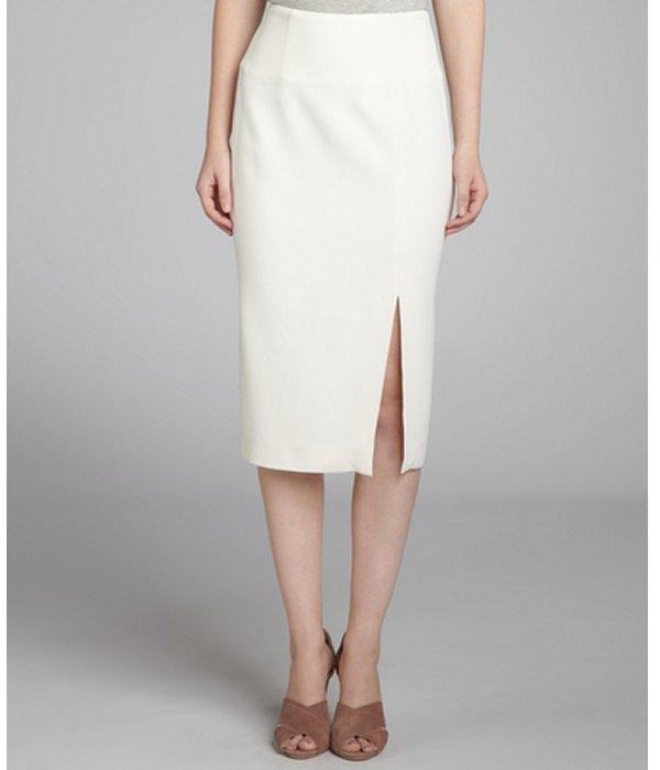 Alexander McQueen white side zip pencil skirt