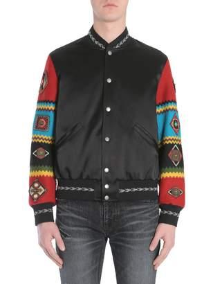 Saint Laurent Satin Varsity Jacket