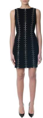 McQ Black Short Dress With Metal Holes And Zippers