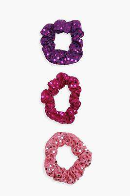 boohoo Womens Isabelle Pink Sequin Scrunchie 3 Pack in Pink size One Size