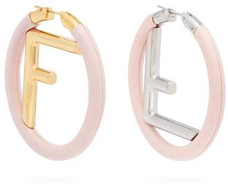 Fendi Logo Leather Hoop Earrings - Womens - Pink