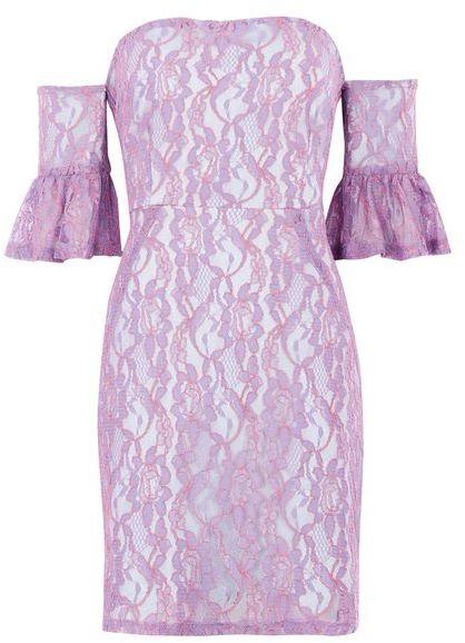 TopshopTopshop Lace flute sleeve bardot dress