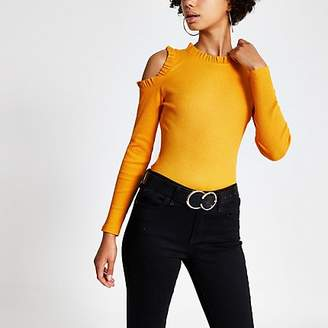 River Island Yellow frill cold shoulder ribbed top