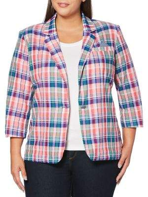 Rafaella Plus Plaid-Print Blazer
