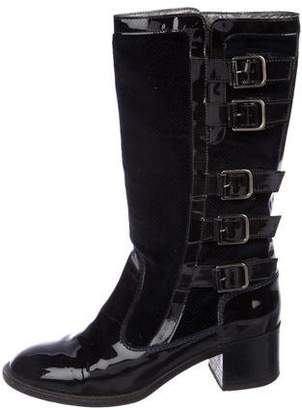 Chanel Patent Leather Mid-Calf Boots